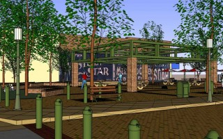 Artist-Concept-of-Ed-Hales-Park-in-downtown-area-Redlands-CA